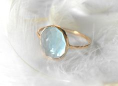 blue topaz in recycled 14k gold ring