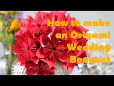 """How to make an Origami Flower Bouquet - YouTube  4.25' paper with foam bouquet stand or wire """"stems"""". This paper is too big for my taste though..."""