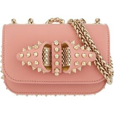 CHRISTIAN LOUBOUTIN Sweety charity nv spikes (5,270 MYR) ❤ liked on Polyvore featuring bags, handbags, shoulder bags, pink, chain strap purse, shoulder strap bag, pink purse, red purse and pink leather handbag