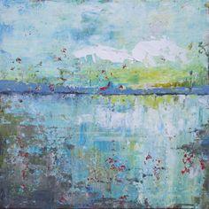 Abstract Landscape - Evening (10x10) Original Acrylic Painting - Sunset Beach