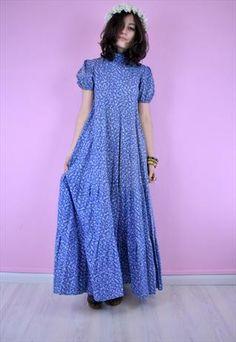 60s Vintage laura Ashley floral print Blue Victorian Dress