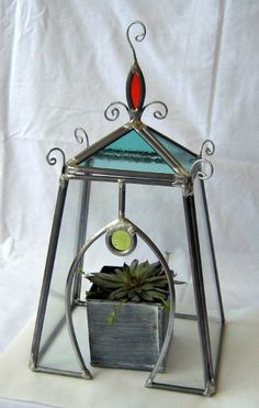GREENHOUSE TERRARIUM stained glass by creationeuropeenne on Etsy, $65.00