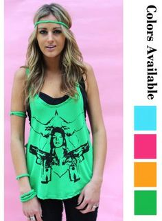 Guns and Doves Bright Gunshow Tank,  Top, cute  tank  low arm hole  racer, Casual