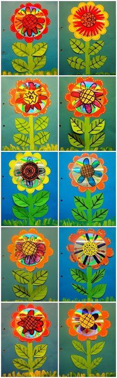 flors reciclant cd's
