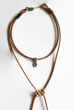 Womens leather necklace, boho, silver feather, hamsa hand, bohemian necklace, brown, multi strand necklace, leather choker #etsy #bohemian #handmade #jewelry