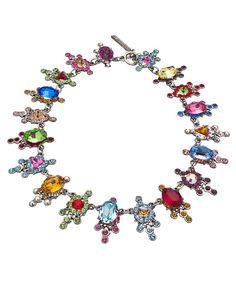 Otazu Multicolor Swarovski Crystal Station Necklace