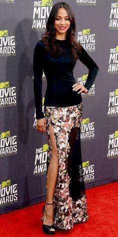 Zoe Saldana in Givenchy at the 2013 MTV Movie Awards via Getty Images.