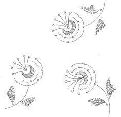 retro flowers embroidery pattern