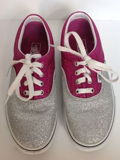 25053aa4daf2a3 Vans Youth Glitter Fashion Sneakers Size youth 3.5 Pink and Silver Shoes   youth  pink