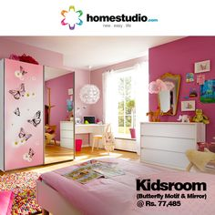This Kids room features: Sliding wardrobe in butterfly motif , Chest of drawers, Single bed and a integrated study. This room offers ample storage to  keep your little one's room spick and span.Designed and Installed in just 7 days. #Homestudio #KidsRoomSolution #KidsRoomFurniture