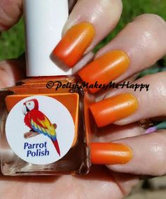 Two in One! That's what you get with this fun Parrot Polish!!! Citrus Twist, the perfect name for this thermal beauty!! Yellow when hot..orange when cold! So fun to watch it turn from one to the other! This post is picture heavy, but just trying to capture a few of the different color combinations of this ONE polish! ‪#‎nails‬ ‪#‎thermal‬ ‪#‎nailpolish‬ ‪#‎notd‬
