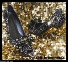 Limited Edition Black & Silver glass crystal bow peep toe Shoes