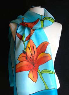 Lynne's scarves are just gorgeous! Hand painted silk scarf stunning orange lily by FantasticPheasant, $45.00