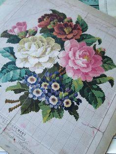 Антикварный Берлин WOOLWORK диаграммы-цветочный букет-около 60-е годы 19 века | eBay