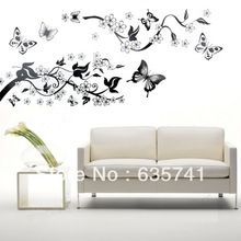 Bedroom Livingroom Decoration Butterfly Flowers Tree Wall Stickers / Wall Decal Free Shipping(China (Mainland))