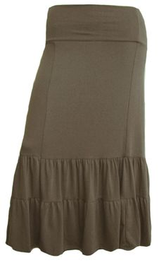 Autumn Brown Tiered Boho Plus Size Skirt