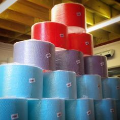 Plain bright lampshades all large deep in red purple and turquoise