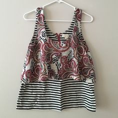 Anthropologie paisley tank Beautiful paisley and stripped print tank. Features chiffon paisley over cotton stripes. Pink back half zip.Anthro brand is Meadow Rue. Great condition! Anthropologie Tops Tank Tops
