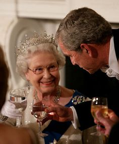President George W. Bush toasts Her Majesty Queen Elizabeth II of the United Kingdom. You can tell from their interactions, video clips and other photos too, that they share a mutual respect and admiration for each other. Love it!