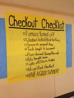 RA checkout checklist end of year