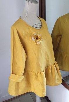 Tunique, blouse, 100% lin léger, taille M : Chemises, blouses par realisa