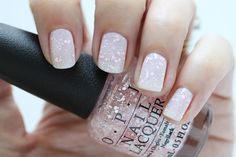 OPI Soft Shades Petal Soft Pink Glitter Top Coat Nail Polish Swatch