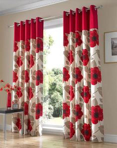 Living Room,Cute Flower Curtain Living Room: Aside of its functionally, the curtains have really important role in providing the living room with a specific style and ambience. The modern curtains will provide your living roo. No Sew Curtains, Home Curtains, Modern Curtains, Window Curtains, Red Curtains Living Room, White Kitchen Curtains, Curtain Styles, Curtain Designs, Ornaments