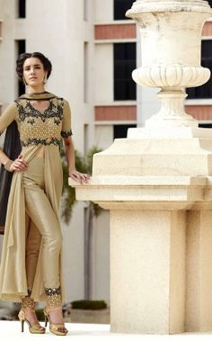 Partywear Designer Embroidery Golden Georgette Salwar Suit