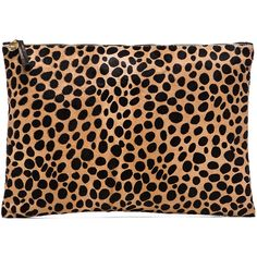 Clare V. Oversize Clutch Handbags ($289) ❤ liked on Polyvore featuring bags, handbags, clutches, purses, accessories, leopard, leather clutches, leopard clutches, real leather handbags y oversized handbag