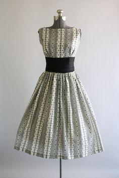 Vintage 1950s Dress / 50s Cotton Dress / Black and White Eyelet Dress w/ Shelf Bust S
