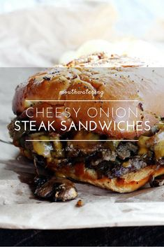 These Cheesy Onion Steak Sandwiches are all the things. There is so much flavor going on in these juicy sandwiches, you have to try them for yourself. Tender steak with slow-cooked onions, peppers and mushroo Paninis, Wrap Sandwiches, Steak Sandwiches, Dinner Sandwiches, Steak Sandwich Recipes, Sandwich Bar, Beef Recipes, Cooking Recipes, Yummy Recipes