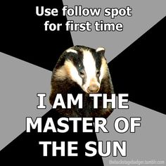 Back Stage Badger is the master of the sun!