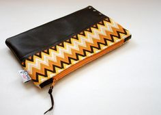 chevron & leather pouch from FlyChicks