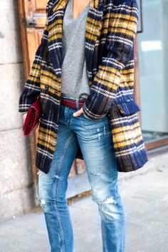 plaid coat + ripped denim + maroon accessories