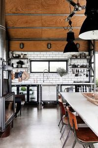 Industrial-style kitchen from shed converted into a holiday house on the NSW South Coast. Industrial Style Kitchen, Industrial Interior Design, Vintage Industrial Decor, Industrial Interiors, Industrial Office, Vintage Modern, Industrial Lighting, Modern Industrial, Industrial Furniture