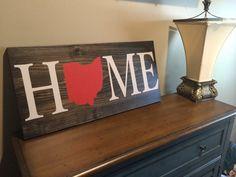 Home Wood Sign, Custom, Ohio, State Sign, Wood Sign, Rustic, Housewarming Gift, Home Decor, Buckeyes