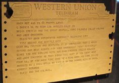 Telegram from Elvis & Colonel Tom to the Beatles! Western Union, The Beatles, Messages, Personalized Items, Text Posts, Text Conversations, Beatles