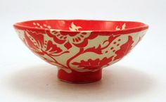 MadetoOrder Fabulous Red & White FLORAL BOWL by TheClayBungalow, $115.00