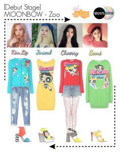 """""""[Debut Stage] MOONBOW - Zoo @Show! Music Core"""" by moonbowlmeryemila ❤ liked on Polyvore featuring Alexander Wang, Moschino, Chicnova Fashion, Kat Maconie, adidas, Pollini and Chiara Ferragni"""