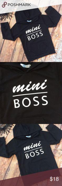 Unisex Childs MINI BOSS Hoodie Gender neutral lightweight black hoodie with white MINI BOSS across the front. Shirts & Tops Sweatshirts & Hoodies