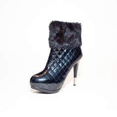 "Adella!  Pump up your style in these sexy booties! These platform #stilettos feature a chic faux patent quilted design that will pair perfectly with a little black dress or your favorite skinny jeans.  Find ""Adella"" at www.steam-boots.ca"