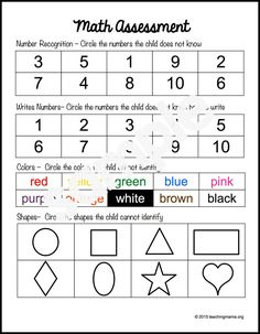 Preschool Assessment Forms - Resources - At the beginning of the year, it's a great idea to do a preschool assessment. This helps you unde - Preschool Assessment Forms, Assessment For Learning, Kindergarten Math Worksheets, Formative Assessment, Preschool Classroom, Career Assessment, Classroom Ideas, Kindergarten Assessment Checklist, Kindergarten Goals