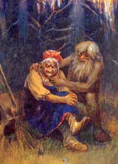 SLAVIC MYTHOLOGY Baba Yaga being comforted by Leshy. Baba Yaga flies around in a mortar, wields a pestle, and dwells deep in the forest in a hut usually described as standing on chicken legs. Baba Yaga may help or hinder those that encounter or seek her out and may play a maternal role and has associations with forest wildlife.