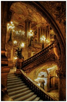 Paris, home to one of my favorite building of all time! The Paris Opera House! Gothic Architecture, Beautiful Architecture, Beautiful Buildings, Beautiful Places, Beautiful Stairs, Stairs Architecture, House Beautiful, Ancient Architecture, Modern Buildings