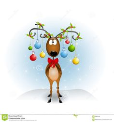 Photo about A clip art illustration featuring a reindeer with antlers decorated with Christmas ornaments and holly leaves. Illustration of illustration, holly, decorated - 5982519 Christmas Abbott, Noel Christmas, Christmas Animals, All Things Christmas, Christmas Crafts, Christmas Decorations, Christmas Ornaments, Reindeer Christmas, Christmas Music
