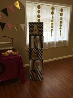 Kate Spade Inspired Baby Shower- Name Blocks-Baby Avery