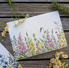 More wildflowers inspired by my trip to the Grand Teton national park. I was lucky to be there when most of the colourful wildflowers were… Watercolor Cards, Watercolor Flowers, Watercolor Paintings, Watercolors, Envelope Art, Arte Floral, Learn To Paint, Mail Art, Flower Art