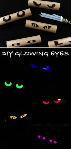 Glowing eyes made from toilet paper tubes and glowsticks