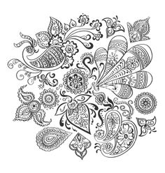 Indian floral ornament vector paisley henna design - by Netkoff on VectorStock®