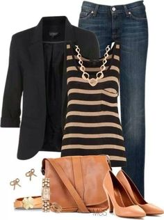 Dark jeans, Black and Tan striped tank, black blazer and tan accessories